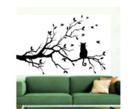 Venta al por mayor Gato en la rama de árbol largo DIY Vinilo Wall Sticker Decals Wall Art Mural Decoración para el Hogar Window Kitchen Wallpaper