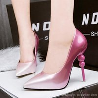 Wholesale Korean Sexy High Heels - Korean style fashion gradient two colors lady high heels shoes 4 colors PU leather pointed toe sexy stiletto shoes for party 268-6