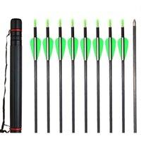 Wholesale Carbon Fiber Arrows Wholesale - Huntingdoor 31 inch Carbon Fiber Arrows with Screw Field Points Tips and 1 pc Adjustable Arrow Quiver