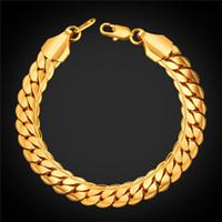 ingrosso bracciali di serpente alla moda-U7 9mm Classic Snake Chain Bracciale uomo gioielli oro / nero pistola / platino placcato tendenza trendy roccia uomo catene accessori perfetti H2489