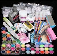 Wholesale Nail Art System - Professional Nail Art Kit Sets Manicure Set Nail Care System Acrylic Powder Liquid Glitter Glue Toes Separators Brush Tweezer Primer Tips