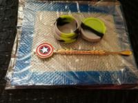 ingrosso bho kit per cera-Set di cera in silicone con 14 * 11,5 centimetri quadrati tappetini tamponi smorzare 5ml contenitore di silicio contenitore oro dabber per olio dab olio bho