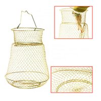 Wholesale Crab Cage Fishing Net - Wholesale- Hot Fish Lobster Collapsible Portable Mesh Fishing Net Crab Prawn Cage Foldable Metal Steel Wire Fishing Pot Trap