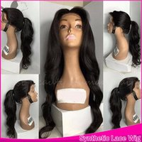 Wholesale Sexy Woman Baby Free - Sexy new glueless synthetic front lace wig&full lace wig free part 150% natural baby hair heat resistant cheap wigs for black women