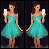 Wholesale Sparkly One Shoulder Homecoming Dresses - Sparkly Sexy Short Prom Dresses 2017 Halter robe de bal Ruffles vestido de festa Crystal galajurken Homecoming Party Evening Gowns