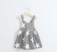 Wholesale Girl Strips Dress - Girl Summer Dresses Children Strip Star Print Princess Blackless Cotton Dress 2017 Baby Kids Clothing G318