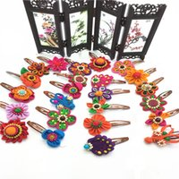 Wholesale Fashion girl hairpin hair ornaments ethnic hair ornaments handmade hairpin embroidered headdress fabric hairpins flower A0640