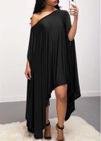 Wholesale Casual Asymmetrical Hem Dress - Fashion Asymmetric Hem Skew Neck sexy Dress hot sale casual summer dresses