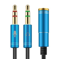 Wholesale Y Adapter Gold - Heapphone Splitter Cable of 3.5mm Jack Male 2 to 1 Female Dual Y Splitter Earphone Headphone Audio Cable Adapter
