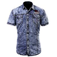 5437a3d2d7 Fashion Cotton Man Casual Slim Fit Denim Cargo Shirts European Style Male  Short Sleeves Jeans Shirts