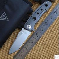 tam titanyum bıçak toptan satış-2017 tasarım tam Titanyum kolu M390 bıçak Yüksek Dereceli Çelik Stonewashed Taktik Rulman Kamp Bıçak Aracı