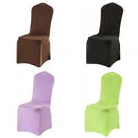 sillas de estilo envío gratis al por mayor-Colores sólidos Presidente boda Cubiertas simple y cómoda de estilo Fuerza Elástica cubierta de asiento del hotel Juegos de Disfraces Multi Color 6 4GX C RW