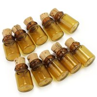 Wholesale Brown Glass Bottles Cork - Wholesale- 10pcs Lot Small Mini Brown Empty Glass Wishing Bottle Vials Jars Container Tiny Drifting Message Bottles With Cork Stopper Gift
