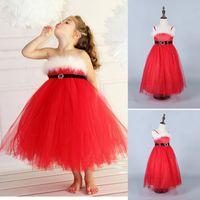 Wholesale Wholesale Tube Skirts - Boutique Baby Girls Red Tulle Princess Dress Sleeveless Christmas Suspender Skirts High Waist Strapless Tube Dress