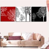 Wholesale Tree Life Paintings - Rich tree Oil Painting 3 pcs a set Panel Abstract Still Life Black White Red Cuadros Home Decor Canvas Art