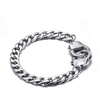 Wholesale Mens Locket Chain - Silver Color Cuban Link Bracelet Mens Stainless Steel Braceletes Hip Hop Punk Style Men Jewelry Unique Handcuffs Locket Chain Bracelets