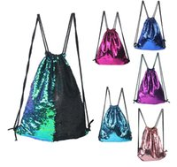 Wholesale Ladies Sport Backpack - Double color Sequin shoulders Bag Reversible Sequin Mermaid Glitter Ladies Backpack girls accessories bags Sports Yoga backpacks