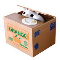 Wholesale stealing money cat online - Automatic Cat Stealing Coin Cat Kitty Coins Penny Cents Piggy Bank Saving Box Money Box Kid Child Gift