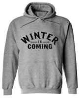 Wholesale House Hoodies - Game of Thrones Men 2017 New Design Mens Hoodies House Stark Standard Direwolf Print Winter is Coming Free Shipping