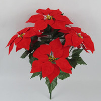 Wholesale Flower Bushes - 10 Bunches Artificial Christmas Flowers Red Poinsettia Bushes Christmas Tree Ornaments Home Decoration Holiday Planter, Dia 8.5 Inch
