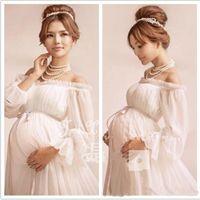 Wholesale Photo Clothes Women - Elegant lace Maternity dress Photography Props Long dress pregnant women clothes Fancy Pregnancy Photo props Shoot hamile elbise