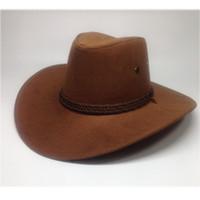 Wholesale Best Western Gift - 8color Leather Men Women Travel Caps Western Cowboy Hats 2017 popular western cowboy wind Best summer gift