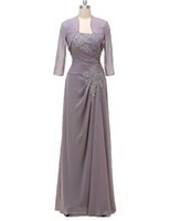 Wholesale Lilac Dresses For Sale - 2017 new arrive chiffon mother of bride dress ruched floor length party prom dress for sale Applique Lace Evening Gown