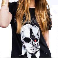 Wholesale female skull shirts - Wholesale-2016 Summer Letter LAGERFELD Printed T-shirts Women Skull Ghost Pattern O neck T Shirt Female harajuku tee shirt femme QL2125