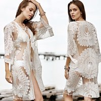 Wholesale white lace cardigan dress - Beach Cover Up Dress Floral Embroidery Bikini Cover Up Lace Swimwear Women Beach Cardigan Bathing Suit Cover Ups For Women