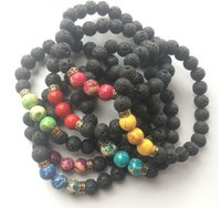 New Arrival Lava Rock Beads Charms Bracelets Colorized Beads Femmes Hommes Femmes naturelles Strands Bracelet For Fashion Jewelry