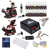 Wholesale gun power supply - Lowest Price Beginner Tattoo Kit 2 Guns 20 inks power supply Free Shipping to USA D175GD