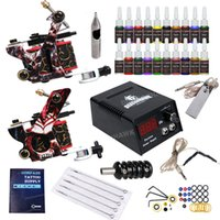 Wholesale usa tattoo ink - Lowest Price Beginner Tattoo Kit 2 Guns 20 inks power supply Free Shipping to USA D175GD