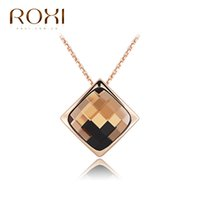Wholesale Crystal Necklace Pendents - ROXI Brand Fashion Jewelry Statement Necklace Jewelry Crystal Pendents Women Long Necklace Choker Charm For Christmas Gift