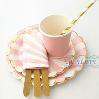 Wholesale Striped Paper Plates - Wholesale-8 Sets (56pcs) Striped Scallop Paper Plates Pink Cups Foil Gold Straws Glitter Wooden Cutlery Cocktail Napkins for Baby Shower