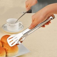 Discount wholesale tableware party free shipping - Stainless Steel Cake Clip Bread Tongs Baking Pastry Tools Tableware Fruit Salad Clip Wedding Party Supplies DHL Free Shipping