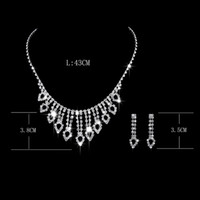 Wholesale Korean Wholesale Bridal Necklace - Jewelry sets Women's Korean European Style Wedding Jewelry Earrings Geometric Crystal Necklace Set for Brides Bridal Jewelry Sets NO 460