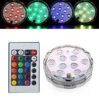 el control remoto funciona al por mayor-Base sumergible de luz de vaso florero Accionado por batería impermeable LED Fishbowl luces de tanque con control remoto para decoraciones de banquetes de boda