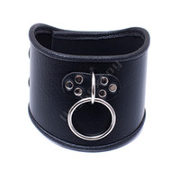 Wholesale female sex dog collar for sale - Group buy 520 mm Choker Black Leather Collar With Pull Ring Adjustable Belt Slave Dog Fetish Bondage BDSM Neck Strap Sex Product