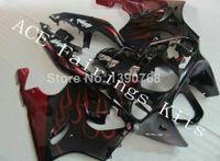 siyah kırmızı zx7r kaplama toptan satış-Üç ücretsiz güzel hediye yeni yüksek kaliteli Kawasaki Ninja ZX-7R 1996-2003 ZX7R ABS kaplama plakaları Çok güzel siyah kırmızı alev a6