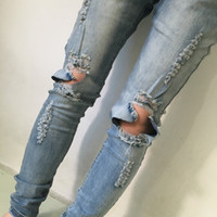 Wholesale New Star Jeans - Wholesale-New street jeans kanye west men biker jeans rock star designer destroyed trousers skinny distressed boyfriend ripped pants