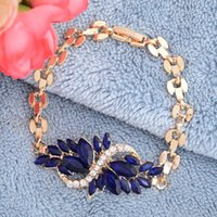 New Fashion Ladies Jewelry Gold Plated 5 cores Crystal Chain Bracelets Braceletes de punho para mulheres Charm Accessories