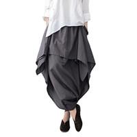 Wholesale Wide Linen Pants - 2017 New Women Wide Leg Loose Linen Cotton Asymmetric Pants Original Designer Plus Size Capris Elastc Waist Skirt