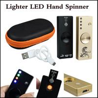 Wholesale toy cigarettes resale online - LED Fidget Spinner Cigarette Lighter Aluminium Alloy USB Charger in Functions Gyro Finger Tip EDC Toy Gold Black Colors In stock