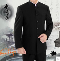 Wholesale Tunics For Men - Wholesale- Blazer men formal dress latest coat pant designs suit men costume homme terno stand collar black tunic suits for men's