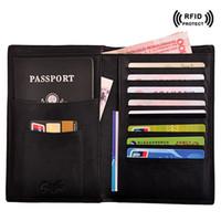 ingrosso scudo della carta di credito-Rfid Shielded Sleeve Card Blocking Caso di copertura del passaporto Top Titolare della carta di credito Portafoglio di viaggio Card Protector Passport Organizer per Mans