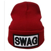 Wholesale 3d Swag Hat - High Elastic Adult Beanie SWAG Letter Warm Hats Winter Casual Warm Beanie Hip Hop Supports 3D Embroidery Your Brand LOGO Caps