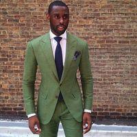en iyi erkekler resmi takım elbiseleri toptan satış-Toptan-2016 Custom Made Yeşil Yakışıklı Örgün Erkek Takım Elbise Düğün Için Zarif Yakışıklı Iyi Erkek Suit Damat Smokin (Ceket + Pantolon)