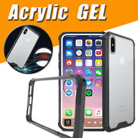 Wholesale Iphone Armour - Air Hybrid Acrylic Armour Shockproof Crystal Soft TPU Transparent Clear Frame Back Cover Case For iPhone X 8 7 Plus 6S Samsung Note 8 S8 S7