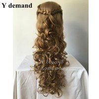 Wholesale cinderella costume for women - High quality Movie Princess Cinderella Wig Long Curly Ash Blonde Anime Cosplay Wig For Women Party Costume Wig Popular