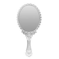 ingrosso specchio a mano ovale-Wholesale- 1pcs Cute Silver Vintage Ladies Floral Repousse ovale rotondo trucco mano tenere specchio principessa Lady trucco bellezza Dresser regalo